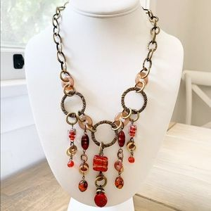 Chico's Glass Red Art Deco Dangling Necklace Gold